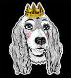 Chien femelle d'épagneul d'animal familier de portrait avec la couronne royale illustration de vecteur