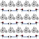 Chien français de style avec le modèle sans couture de rétro bicyclette Teckel parisien de bande dessinée mignonne avec l'illustr Image libre de droits