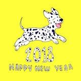 Chien heureux comme symbole 2018, d'isolement sur le fond jaune Conception Image stock