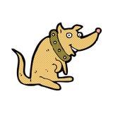 chien heureux de bande dessinée comique dans le grand collier Photographie stock libre de droits