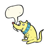 chien heureux de bande dessinée dans le grand collier avec la bulle de la parole Images stock