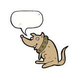 chien heureux de bande dessinée dans le grand collier avec la bulle de la parole Photos stock