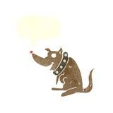 chien heureux de bande dessinée dans le grand collier avec la bulle de la parole Photos libres de droits