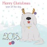 Chien hirsute avec un renne décoratif et des boules de Noël Photo stock