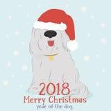 Chien hirsute avec un renne décoratif et des boules de Noël Photographie stock
