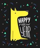 Chien jaune drôle Symbole de l'année 2018 Style plat, illustration d'isolement sur un fond blanc Chiot mignon de vecteur Photos stock