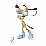 Chien jouant le golf. Photos stock