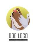 Chien Logo Vector de pékinois d'isolement sur le blanc Image libre de droits