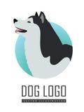Chien Logo Vector Husky ou Malamute d'Alaska d'isolement Images stock
