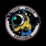 Chien mignon dans le costume d'espace dans l'espace illustration de vecteur