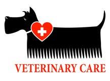 Chien noir avec le signe vétérinaire de soin illustration libre de droits