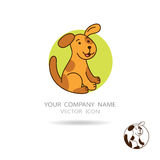 Chien ou chiot de Brown avec le fond de cercle Conception de LOGO Photo stock