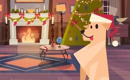 Chien portant Santa Hat In Decorated Room avec l'arbre de Noël, bannière de concept de vacances d'hiver de carte de voeux de bonn Photo libre de droits