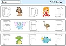 Chien, poupée, éléphant, émeu, grenouille et poissons de bande dessinée Tracin d'alphabet Image stock