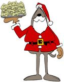 Chien Santa Claus tenant un plat des os illustration de vecteur