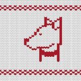 Chien tricoté dans un collier, rétro style blanc rouge illustration libre de droits