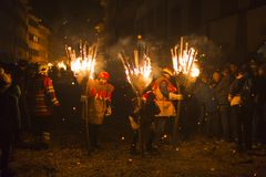 Chienbaese fire parade in Switzerland Royalty Free Stock Photography