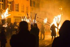 Chienbaese-Feuerparade in der Schweiz Lizenzfreie Stockfotos