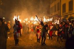 Chienbaese-Feuerparade in der Schweiz Lizenzfreies Stockbild