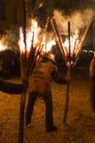 Chienbaese-Feuerparade in der Schweiz Stockfotos