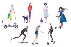 Chiens de marche de exécution d'activités en plein air d'été de mâle et de personnes de personnages féminins, scooter de monte, f illustration de vecteur