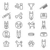 Chiens et ligne mince noire ensemble de chiot d'icône Vecteur Images stock