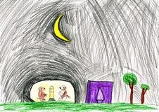 Chiens la nuit. le dessin de l'enfant. Photographie stock