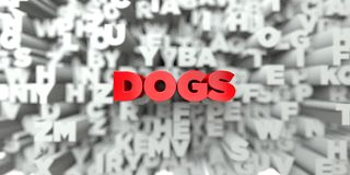 CHIENS - Texte rouge sur le fond de typographie - 3D a rendu l'image courante gratuite de redevance illustration stock