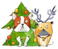 Chiens utilisant des costumes de Noël idiot et de nouvelle année illustration stock