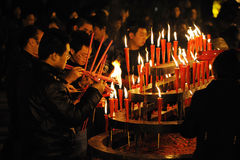 Chiense people burn incense for good luck. Stock Photos