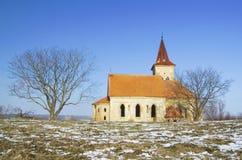 Chiesa abbandonata della st Linhart sul bacino idrico congelato di Musov Immagini Stock