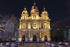 Chiesa alla notte Fotografie Stock