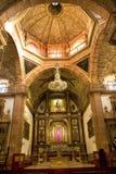 Chiesa arancione Messico di Parroquia della cupola del mattone Immagini Stock