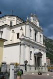 Church of St. John the Baptist in Predore, Italy. The Chiesa Arcipresbiteriale di San Giovanni Battista Archipresbyterial Church of St. John the Baptist in royalty free stock photography