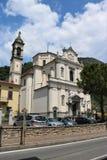 Church of St. John the Baptist in Predore, Italy. The Chiesa Arcipresbiteriale di San Giovanni Battista Archipresbyterial Church of St. John the Baptist in stock image
