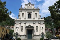 Church of St. John the Baptist in Predore, Italy. The Chiesa Arcipresbiteriale di San Giovanni Battista Archipresbyterial Church of St. John the Baptist in stock photography