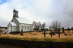 Chiesa bianca in Islanda Immagini Stock Libere da Diritti