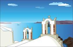 Chiesa bianca in Santorini Illustrazione di vettore illustrazione vettoriale