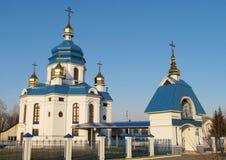Chiesa blu bianca ortodossa Immagini Stock