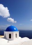 Chiesa blu del tetto Fotografie Stock