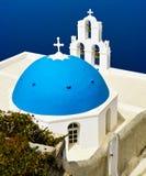 Chiesa blu della cupola fotografia stock