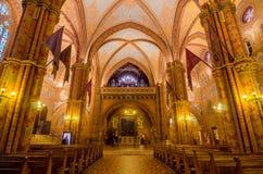 Chiesa cattolica interna di Matthias a Budapest, Ungheria Fotografie Stock Libere da Diritti