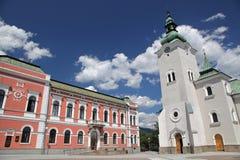 Chiesa cattolica romana alla città Ruzomberok, Slovacchia Immagine Stock Libera da Diritti