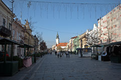 Chiesa cattolica romana nel centro urbano, Sombor, Serbia fotografia stock