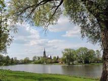 Chiesa cattolica rossa, Lituania Fotografie Stock Libere da Diritti