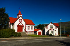 Chiesa cattolica variopinta in Akureyri Fotografia Stock