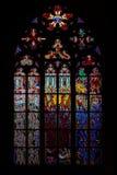 Chiesa centrale del vetro macchiato della st Vitus in repubblica Ceca Immagine Stock