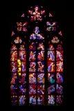 Chiesa centrale del vetro macchiato della st Vitus in repubblica Ceca Fotografia Stock
