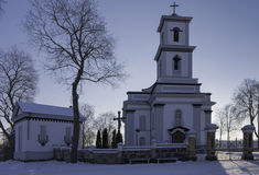 Chiesa in città lituana Fotografia Stock Libera da Diritti
