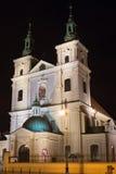 Chiesa collegiale della st Florian nella parte storica di Cracovia alla notte Fotografia Stock Libera da Diritti